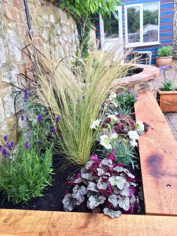 Thornham (North Norfolk) Courtyard Garden Design with oak planters