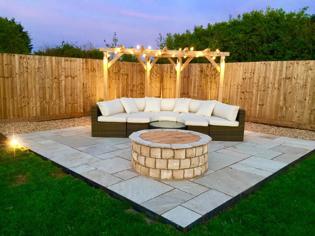 Landscaping complete with patio, steel edges, firepit, pergola and outdoor electric lighting