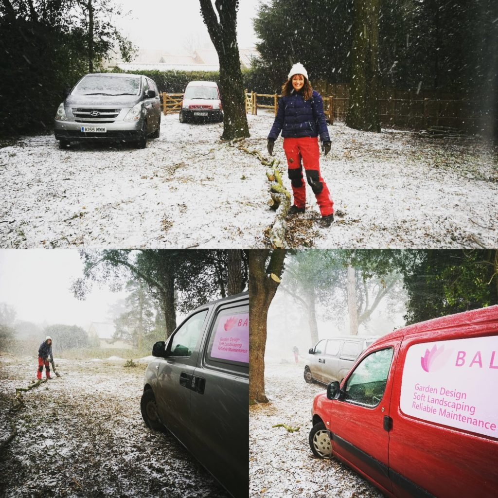 Louise Barby gardening in the snow